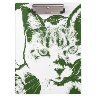 kitten posterized green white cat feline design clipboard