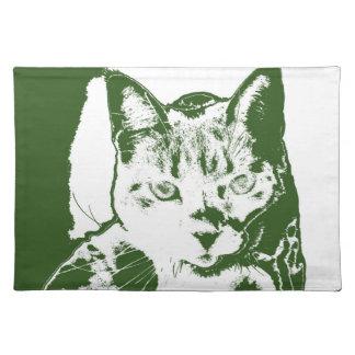 kitten posterized green white cat feline design cloth placemat