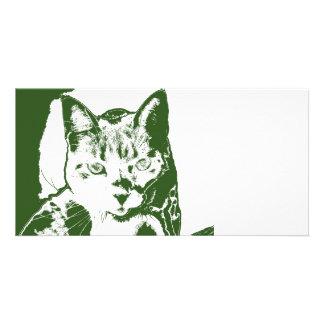 kitten posterized green white cat feline design photo card