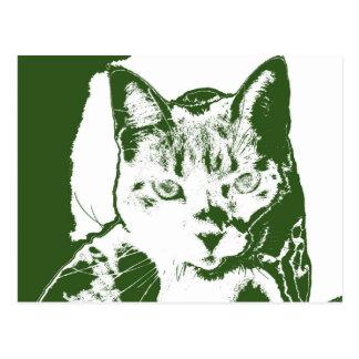 kitten posterized green white cat feline design postcard