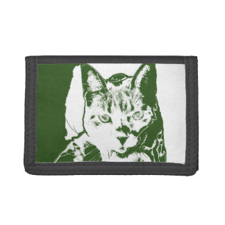 kitten posterized green white cat feline design trifold wallet