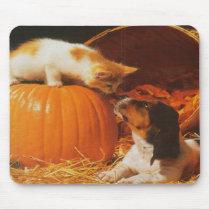 Kitten, Pumpkin and Puppy Mousepad
