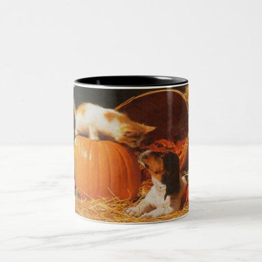 Kitten, Pumpkin and Puppy Two-Tone Coffee Mug