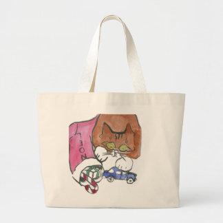 Kitten Raids the Christmas Stocking Tote Bag