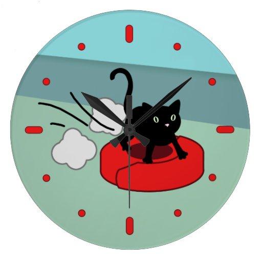 Kitten Riding Robot Vacuum Wall Clock