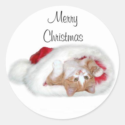 Kitten Santa Hat Round Sticker