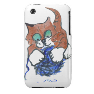 Kitten says - hahahaha take that blue yarn iPhone 3 cover