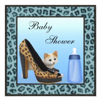 Kitten, Shoe & Bottle Blue Fur Texture Baby Shower Card