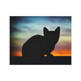 "Kitten Silhouette,Sunset Sky Background 14"" x 11"" Canvas Print"