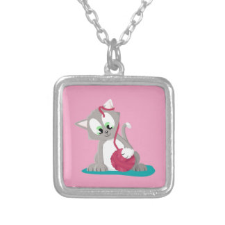 Kitten silver silver plated necklace