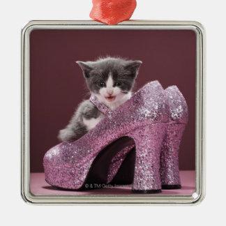 Kitten sitting in glitter shoes metal ornament