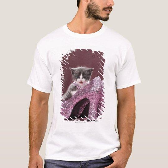 Kitten sitting in glitter shoes T-Shirt