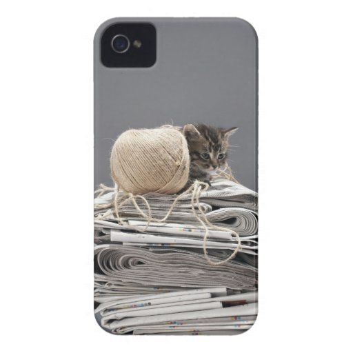 Kitten sitting on pile of newspapers iPhone 4 cover