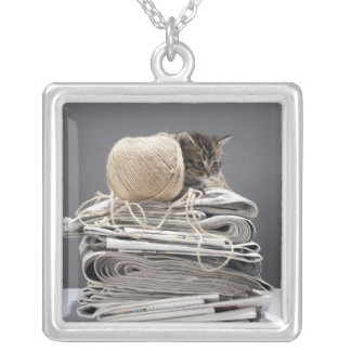 Kitten sitting on pile of newspapers silver plated necklace