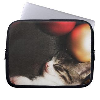 Kitten sleeping in decorations computer sleeve