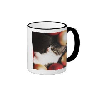 Kitten sleeping in decorations ringer coffee mug