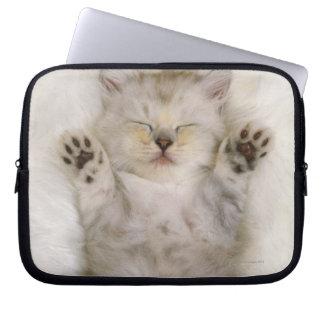 Kitten Sleeping on a White Fluffy Carpet, High Laptop Sleeve