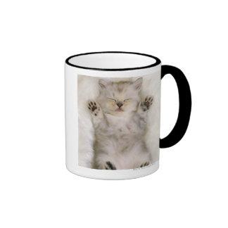 Kitten Sleeping on a White Fluffy Carpet, High Ringer Mug