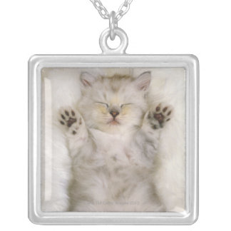 Kitten Sleeping on a White Fluffy Carpet, High Square Pendant Necklace
