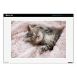 "Kitten Sleeping on Towel 15"" Laptop Skins"