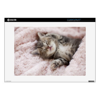 "Kitten Sleeping on Towel Decals For 15"" Laptops"