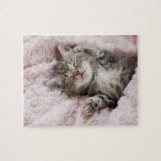 Kitten Sleeping on Towel Jigsaw Puzzle