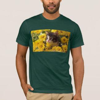 Kitten Sniffs The Yellow Daisies T-Shirt
