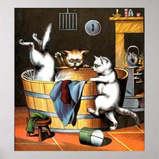 Kitten Takes a Bath Poster