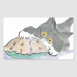 Kitten Taps a Blueberry Pie with his Paw Rectangular Sticker