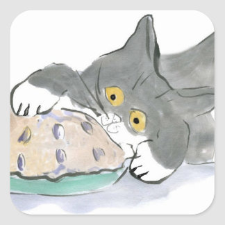 Kitten Taps a Blueberry Pie with his Paw Square Sticker