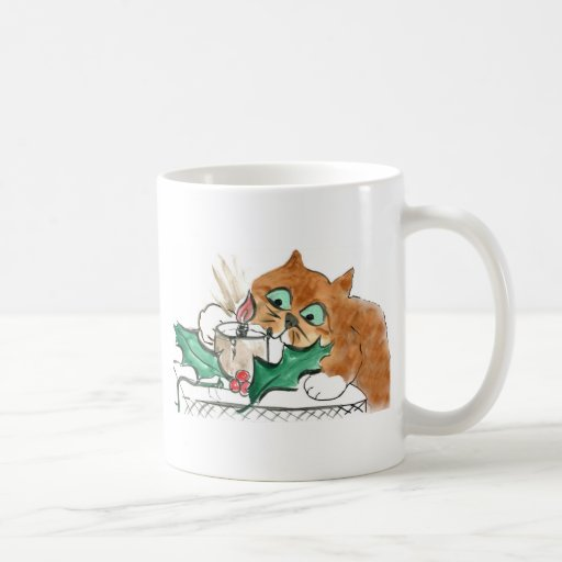 Kitten Taps an Electric Christmas Candle Coffee Mugs