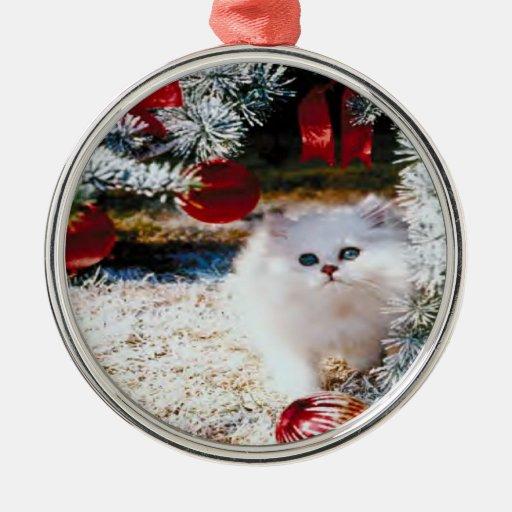 Kitten Under the Christmas Tree Ornament