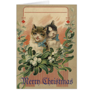 Kitten Victorian Christmas Card