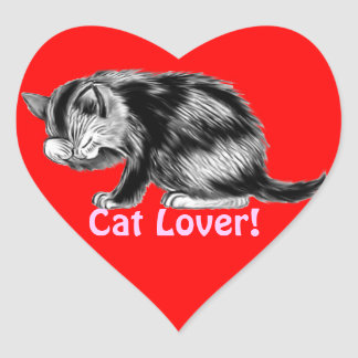 Kitten Washing His Whiskers Cat Lover Gifts Heart Sticker