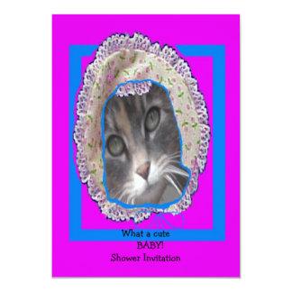 Kitten wearing bonnet baby shower card