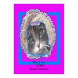Kitten wearing bonnet baby shower invitation