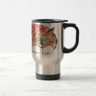Kitten Wears a Knit Beanie Hat Travel Mug