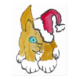Kitten wears a Santa Hat - Santa's Helper Postcard