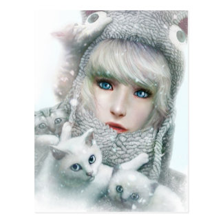 Kitten Winter Postcard