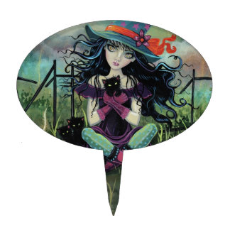 Kitten Witch Fantasy Art By Molly Harrison Cake Topper