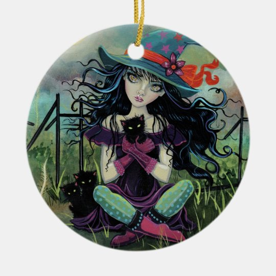 Kitten Witch Fantasy Art By Molly Harrison Ceramic Ornament
