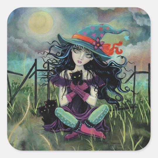 Kitten Witch Fantasy Art By Molly Harrison Square Sticker