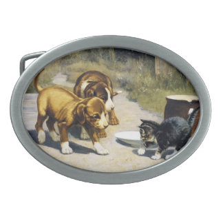 Kitten with 2 puppies vintage painting belt buckle