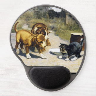 Kitten with 2 puppies vintage painting gel mouse pad
