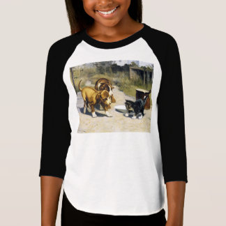 Kitten with 2 puppies vintage painting T-Shirt