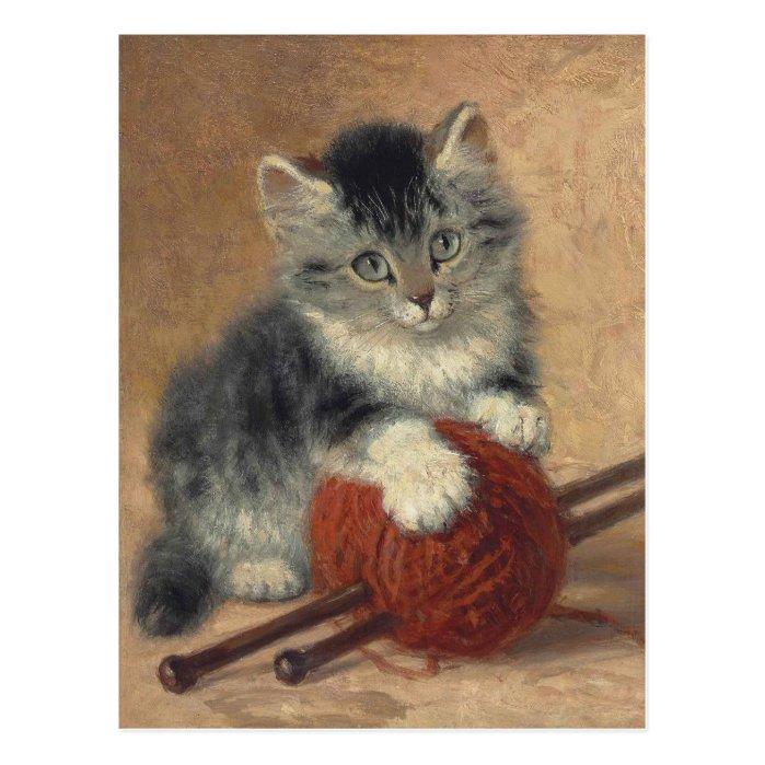 Kitten with a ball of wool CC0194 Ronner-Knip Postcard
