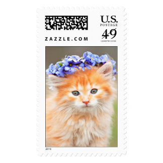 Kitten with a Purple Garland in Her Hair Postage