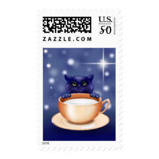 Kitten with a Saucer of Milk Stamp