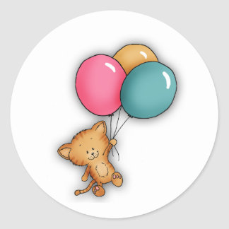 Kitten with Balloon Classic Round Sticker