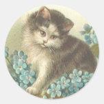 Kitten With Blue Flowers Classic Round Sticker